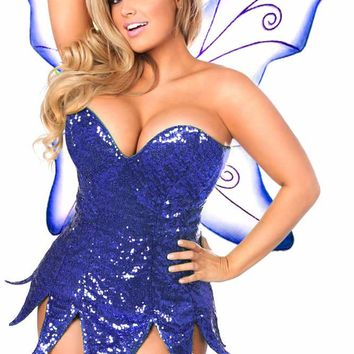 Daisy Corsets Female Blue Sequin Fairy Corset Dress Costume TD-937