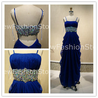 New Fashion A Line Sleeveless Beading Floor Length Prom Evening Dress