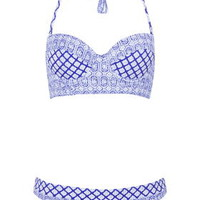 Tea Tile Longline Bikini Set - Deep Blue