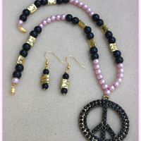 Peace-Handmade Jewelry Set-2 Piece Ladies Necklace & Earrings-Ladies Jewelry-Handcrafted-Trending-Unique-Fashion Jewellry-Gifts for Her