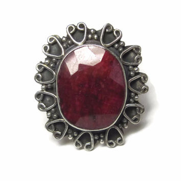 Huge Vintage Sterling Raw Ruby Heart Ring Size 11