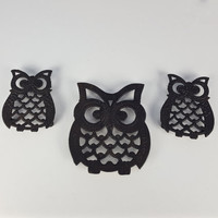 Vintage Trivet Set Owl Pattern Set of 3 Trivet Hot Plate Pot Holder Retro Decor Owl Pattern Decor Retro Kitchen Decor Vintage Kitchen Decor