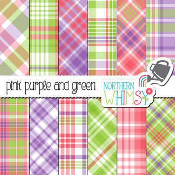 Pink Purple & Green Digital Paper - spring plaid scrapbook paper - pastel tartan printable paper - baby digital paper - commercial use OK
