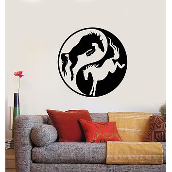 Vinyl Wall Decal Yin Yang Symbol Buddhism Horses Animals Stickers (3385ig)