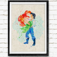 Little Mermaid Ariel & Eric Watercolor Print, Disney Princess Baby Nursery Room Art, Minimalist Home Decor Not Framed, Buy 2 Get 1 Free!