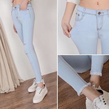 6 EXTRA LARGE Models Worn Jeans Female Casual Trousers Pencil Pants Jeans Woman High Waist Jeans Korean Hole Jeans Woman