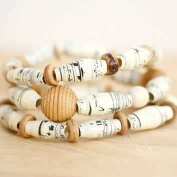 3 Recycled Paper Bead Bracelets, Handmade From Book Pages, Sheet Music