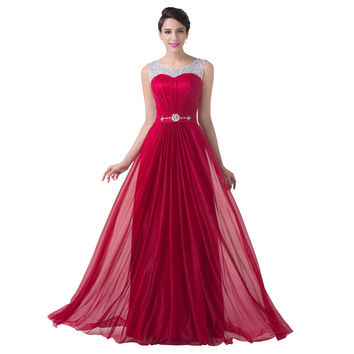 Burgundy Red Bridesmaid Dress Beaded Chiffon A Line Formal Dress Wedding Party Gown Floor Length Long Bridesmaid dresses 2017
