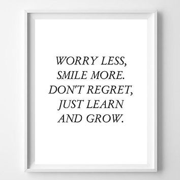 Inspirational Typographic Print - Worry Less - Poster Print - White - Wall Decor - Quote Typography - Inspirational Quote -Art Print - room