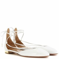 Alexa Flat patent leather lace-up ballerinas