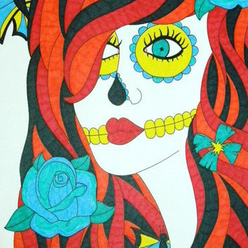 Sugar Skull Girl Orange, Red, and Yellow with Blue Flowers Sharpie and Marker 9x12 Drawing, Original Day of the Dead Art, Dia De Los