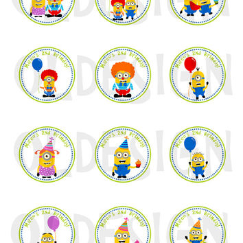 Minion Stickers, Cupcake Topper, Tags, great for birthday partys . 2 Inch Circles. Digital file. Custom