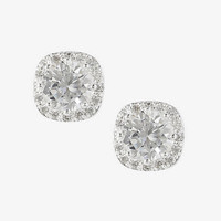 RHINESTONE AND PAVE SQUARE STUD EARRINGS from EXPRESS