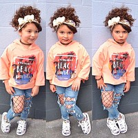 New girl clothing set kids sports shirt with hooded + hole Jeans girls pant baby fashion character casual clothes