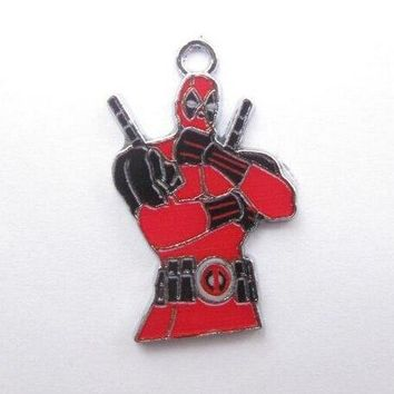 Deadpool Dead pool Taco New 20pcs  Red Cartoon Enamel Metal Charm Key Chain Pendants DIY Necklace Jewelry Making A40 AT_70_6
