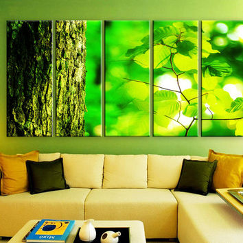 "LARGE 30""x 60"" 5 Panels Art Canvas Print beautiful Spring nature tree trunk leaves Wall Home Decor interior (Included framed 1.5"" depth)"