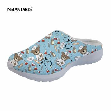 INSTANTARTS Cartoon Bear Nursing Print Outdoor Sandals Women Men Summer Beach Shoes Cute Nurse Shoes Breathable Mesh Slippers
