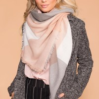 Myra Blush Plaid Blanket Scarf