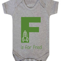 Personalised Alphabet Letter Is For (Rocket Design) Baby Onesuit