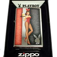 Zippo Custom Lighter - Red Costumed Playboy Cocktail Waitress with Logo - Regular High Polish Chrome 250CI400322