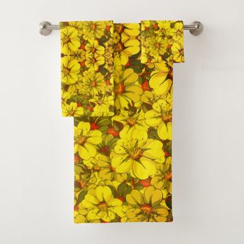 Colorful flower pattern bath towel set