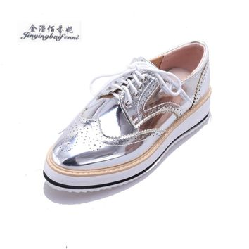 Autumn Flats Women Lace-Up Casual Brogue Shoes Creepers Platform Metallic Gold Silver Black Bullock Female Shoes Derby Size34-39