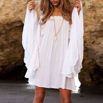 Boho Long Sleeve Peasant Girl Swimsuit Cover Up