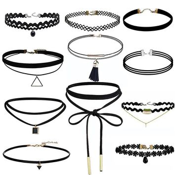 11 Pieces Choker Necklace Set Stretch Velvet Classic Gothic Tattoo Lace Choker