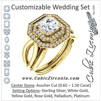 CZ Wedding Set, featuring The Magda Lesli engagement ring  (Customizable Double-Halo Style Asscher Cut with Curving Split Band)
