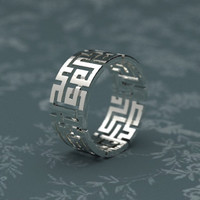 Weaved maze Labyrinth ring in gold plated brass or Sterling Silver
