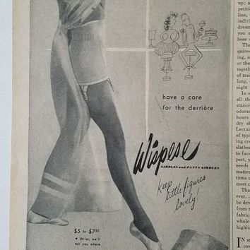 ICIK7BE 1947 women's wispies girdle garters lingerie ballet slippers fashion ad