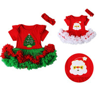 2016 New Arrival Baby Products Girl Romper Tutu Dress Christmas 2 Pcs Kids Jumpsuit Santa Claus Newborn Xmas Next Party Clothing