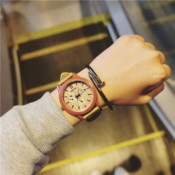 Mens Watches Top Brand Luxury Wood Grain Quartz Watches Simple Leather Lover's w