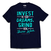 Mens Grind Now Sneaker Tee (Navy/Turquoise-White)