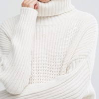 Weekday Turtleneck Fluffy Knit Sweater at asos.com