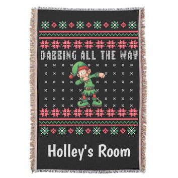 Dabbing All The Way Ugly Christmas Sweater Elf Throw
