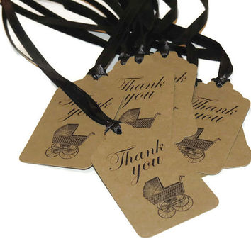 Vintage Baby Carriage Favor Tags, Baby Shower, handmade gender reveal party favor tags, kraft tags, girl, boy, unisex, rustic
