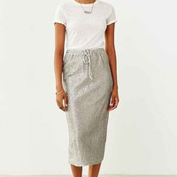 Martel Crinkled Foil Knit Skirt