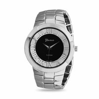 Men's Black and Silver Metal Link Watch