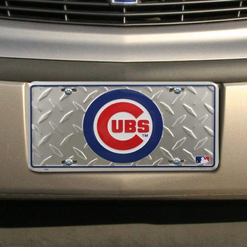 MLB Chicago Cubs Diamond Metal License Plate