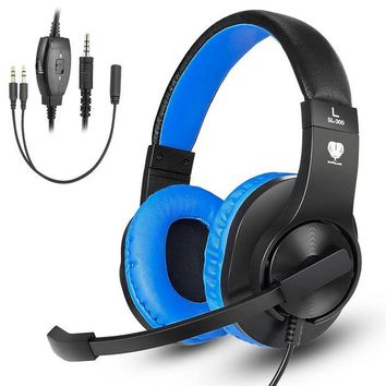 ONETOW Greatever Stereo Gaming Headset for PS4 Xbox One, Professional 3.5mm Bass Over-Ear Headphones with Mic,Volume Control for Laptop, PC, Mac, iPad, Computer, Smartphones, Blue