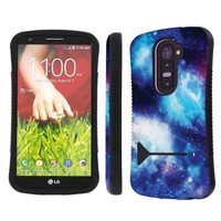 LG G2 ( Verizon, AT&T , T-Mobile , Sprint ) Ultra Shock Absorbent Tough Grip Black Case with Kickstand By SkinGuardz - Blue Space