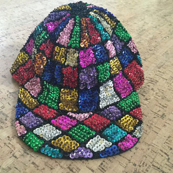 Epic Sequined Hat, Multicolored Sequins Vintage 80s 90s Baseball Hat, Colorful Beaded Cap, Dance Party Hat, Festival Wear, Burning Man Playa