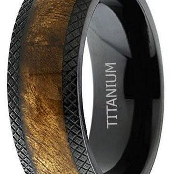 CERTIFIED 8mm Dome Black Titanium Wedding Band Ring with Real Marble Brown Wood Inlay, Comfort Fit