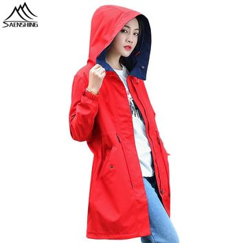 SAENSHING Waterproof Softshell Jacket Women long Windbreaker Camping Hiking Fishing Outdoor Rain Jacket Softshell Coat Female
