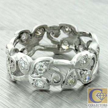 1930s Antique Art Deco Platinum 7mm Wide Diamond Floral Wedding Band Ring