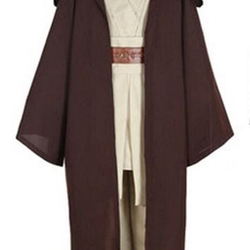Star Wars Mens Deluxe 1:1 Hooded Jedi Robe Obi-Wan Costume with shoes cover any size