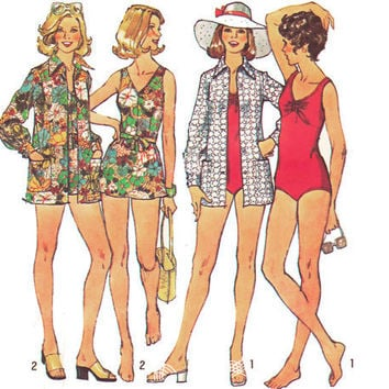 Vintage 70s Sewing Pattern Bathing Suit Coverup by mysweetiepiepie