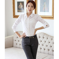 Summer Women Pop Career Apparel Fashion White Shirt Tees Work Wear Long Sleeve Tops Slim Blouses Shirts Casual Blusas 2 Style