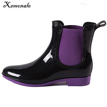 Xemonale 2017 Rain Boots Patchwork Women Ankle Boots Slip On Strench Rubber Platform Rainboots Flats Shoes Woman Plus 36-41